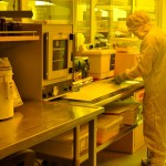 Student working in the MEMS facility.
